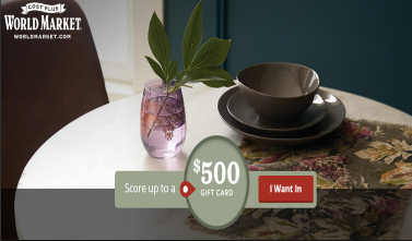 World Market Quikly Sweepstakes – Win a $500 World Market gift card