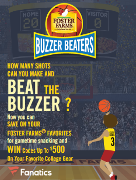Foster Farms Buzzer Beaters Instant Win Game – Win a $500