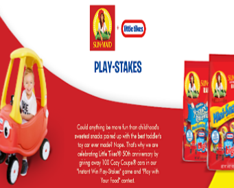 Sun-Maid Little Tikes Cozy Coupe Instant Win Game & Contest